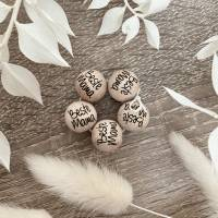 Holzperlen mit Gravur - Beste Mama - Makramee Perlen - Wood Beads Bild 1
