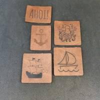 "Set Kunstlederlabel, 5 Teile ""maritim"" Bild 4"