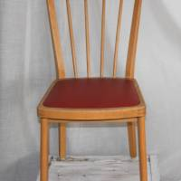Rockabilly-Stuhl mit rotem Sitz 50er Jahre Sprossenstuhl Bild 1