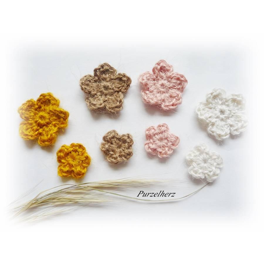 8-teiliges Häkelset: Hanfblumen nach Farbwahl - Natur,Häkelapplikation,Aufnäher,Tischdeko,Streudeko, Bild 1