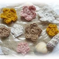 8-teiliges Häkelset: Hanfblumen nach Farbwahl - Natur,Häkelapplikation,Aufnäher,Tischdeko,Streudeko, Bild 2