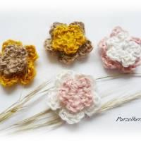 8-teiliges Häkelset: Hanfblumen nach Farbwahl - Natur,Häkelapplikation,Aufnäher,Tischdeko,Streudeko, Bild 3