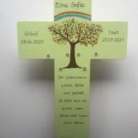 Kinderkreuz mit LED Licht Taufkreuz Taufgeschenk Patengeschenk bemalter Kinderkreuz Lebensbaum Bild 2