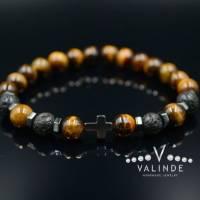 Buddha Herren Armband Tigerauge Lavastein und Hämatit, Elastisches Armband, 8 mm Bild 1