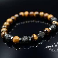 Buddha Herren Armband Tigerauge Lavastein und Hämatit, Elastisches Armband, 8 mm Bild 3