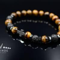 Buddha Herren Armband Tigerauge Lavastein und Hämatit, Elastisches Armband, 8 mm Bild 4