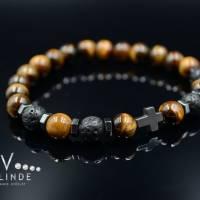 Buddha Herren Armband Tigerauge Lavastein und Hämatit, Elastisches Armband, 8 mm Bild 7