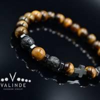 Buddha Herren Armband Tigerauge Lavastein und Hämatit, Elastisches Armband, 8 mm Bild 8