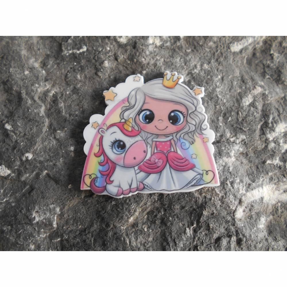 Prinzessin, Einhorn, Regenbogen,  Acryl, Brosche, Anstecker  Bild 1