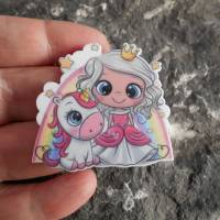 Prinzessin, Einhorn, Regenbogen,  Acryl, Brosche, Anstecker  Bild 2
