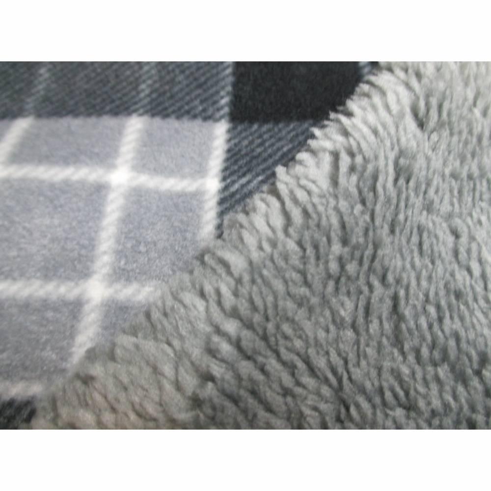 Polar Fleece Karo mit Fellabseite grau (1m/11,€) Bild 1