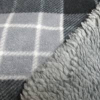Polar Fleece Karo mit Fellabseite grau (1m/11,€) Bild 3