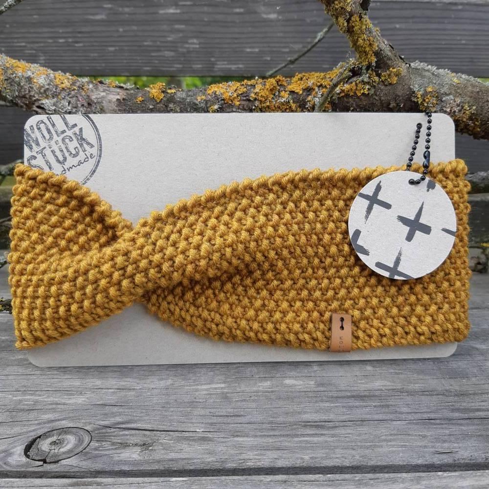 Stirnband mit Twist handgestrickt - Wolle (Merino) - goldgelb meliert Bild 1