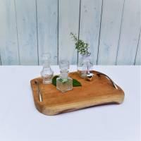 Holztablett mit Griffen, edel rustikal, silber farbige Griffe,  Landhausdeko Bild 2
