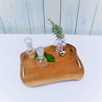 Holztablett mit Griffen, edel rustikal, silber farbige Griffe,  Landhausdeko Bild 3