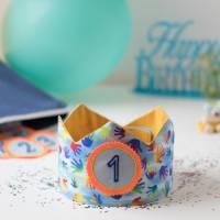 Geburtstagskrone mit wechselbaren Zahlen 1-6 Jahre und Aufbewahrungstasche, Stoffkrone Geburtstag Mädchen oder Jungen Bild 1