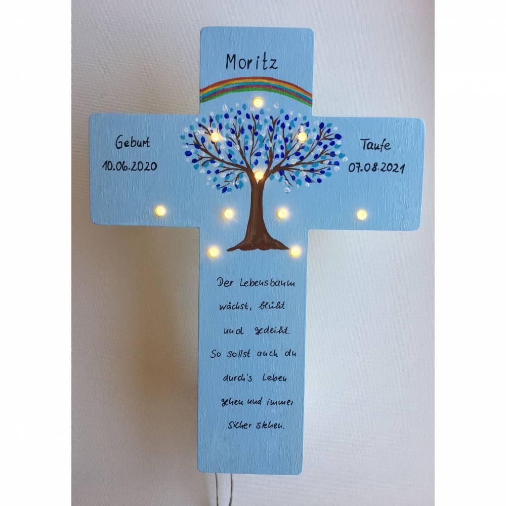 Kinderkreuz mit LED Licht Taufkreuz Taufgeschenk Patengeschenk bemalter Kinderkreuz Lebensbaum Bild 1