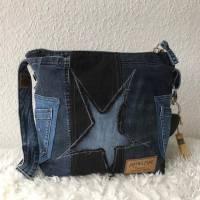 Farbenmix Upycyling Jeanstasche, Tasche aus Jeans, Sternmotiv Bild 1