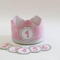 Geburtstagskrone mit wechselbaren Zahlen 1-6 Jahre und Aufbewahrungstasche, Stoffkrone Geburtstag Mädchen Bild 4