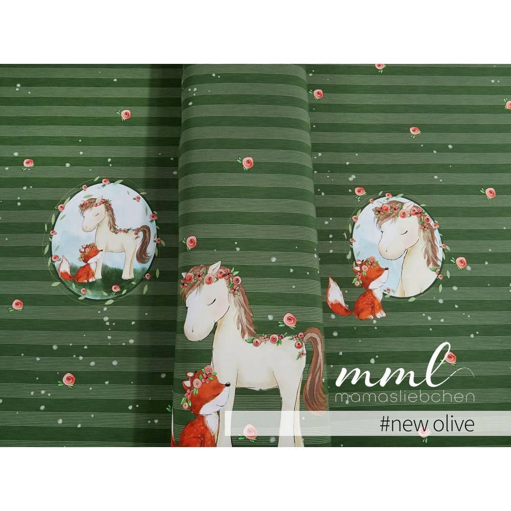 """Jersey-Stoff mit Pferd und Fuchs """"Lina & Lenchen #new olive"""" grün olivgrün (1 Panel / ca.0,70 m) von mamasliebch Bild 1"""