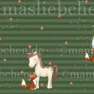 """Jersey-Stoff mit Pferd und Fuchs """"Lina & Lenchen #new olive"""" grün olivgrün (1 Panel / ca.0,70 m) von mamasliebch Bild 2"""