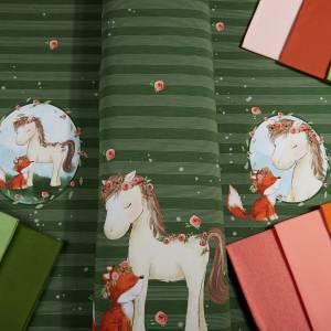 """Jersey-Stoff mit Pferd und Fuchs """"Lina & Lenchen #new olive"""" grün olivgrün (1 Panel / ca.0,70 m) von mamasliebch Bild 3"""