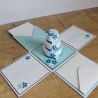 """Explosionsbox zur Hochzeit, Geldgeschenkverpackung """"Hochzeitstorte"""" aus der Manufaktur Karla Bild 7"""