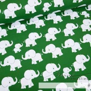 """Jersey-Stoff Elefanten Elefant """"matti #forest"""" (0,5 m) grün Bild 1"""