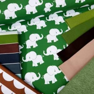 """Jersey-Stoff Elefanten Elefant """"matti #forest"""" (0,5 m) grün Bild 5"""