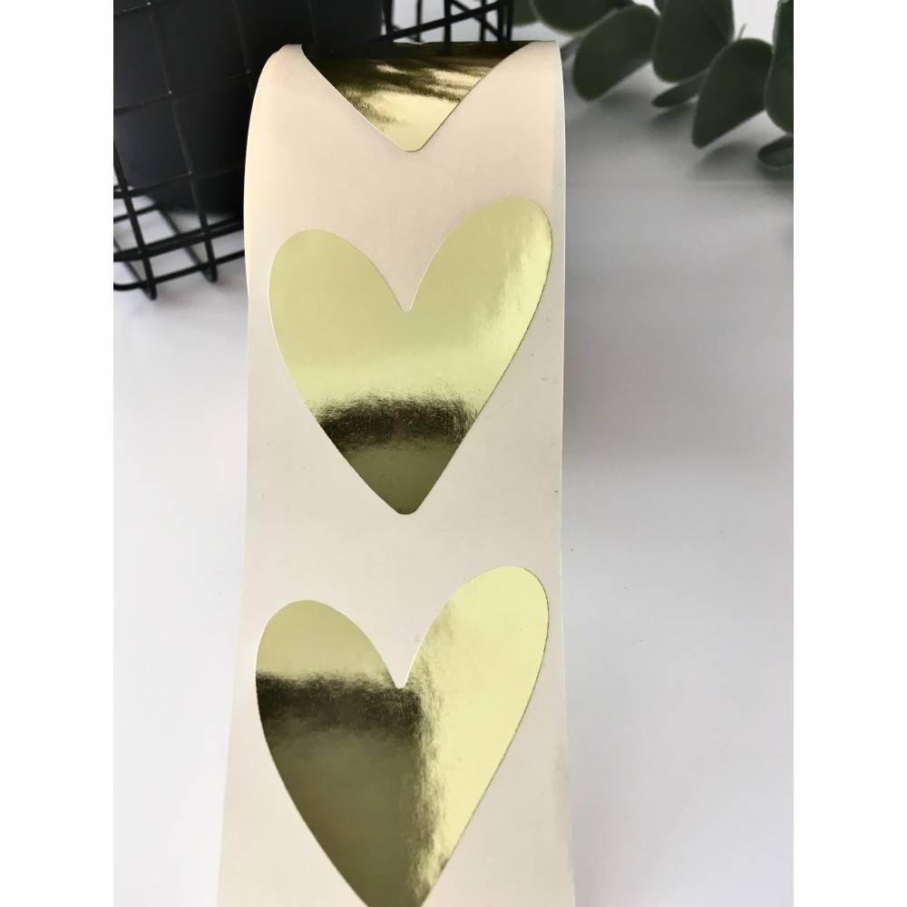 10 Aufkleber, Herzen, Gold, Sticker, Etiketten, Geschenkverpackung Bild 1