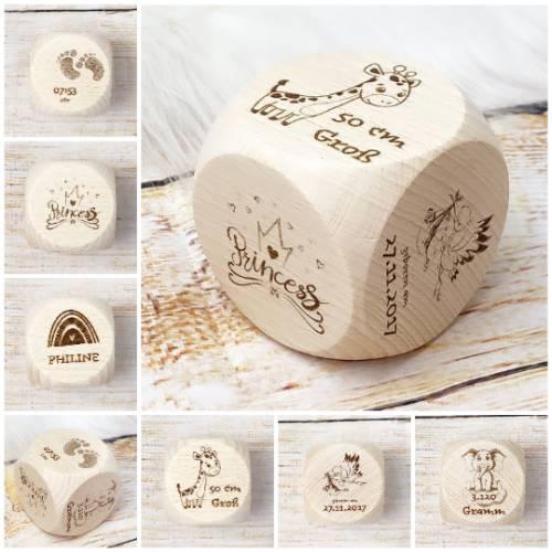 Geschenk zur Geburt, Erinnerungen mit Namen und Geburtsdaten in Form eines Würfels, Wunschgravur
