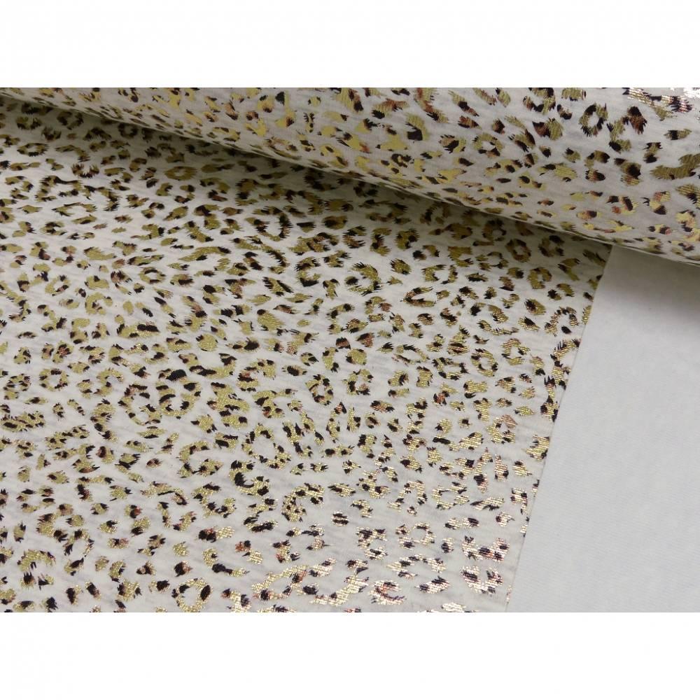 Sweat Shirt Foliendruck Leoprint angeraut, beige Oeko-Tex Standard 100 (1m/17,-€)  Bild 1