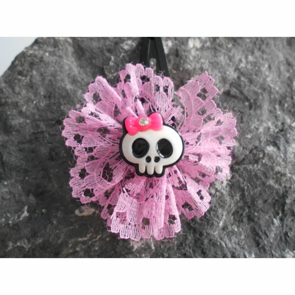 Skull  Blume Stoff rosa rose    Totenkopf ,Haarspange ,cosplay,  Bild 1