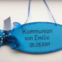 Kommunion Fisch, Konfirmation, Taufe, Türdeko, Fisch 50 cm, Personalisiert Bild 1