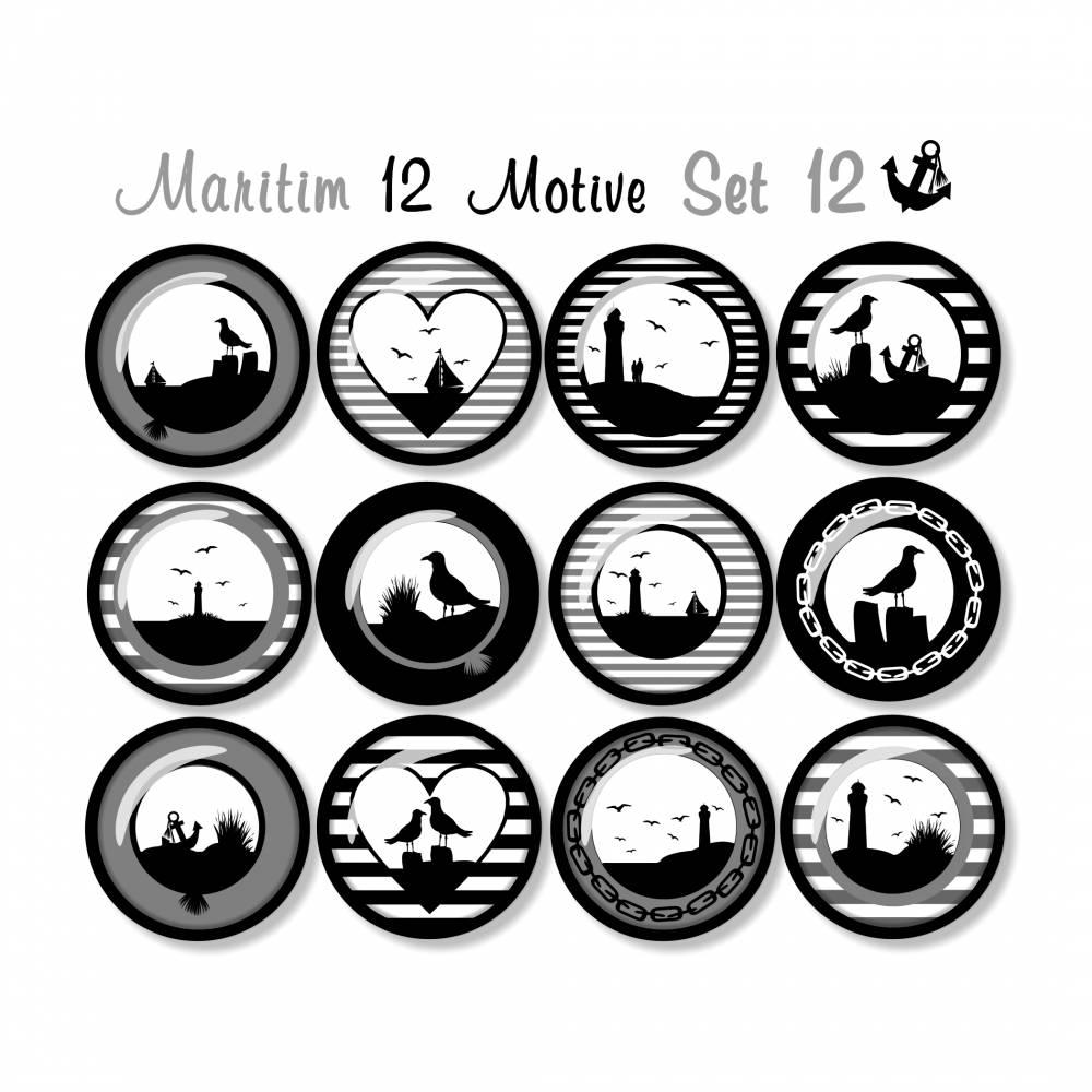 Cabochon Vorlagen zum Ausdrucken, 12 maritime Motive, Set 12, Silhouetten, Anker, Möwe, Segelboot, Leuchtturm Bild 1