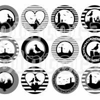 Cabochon Vorlagen zum Ausdrucken, 12 maritime Motive, Set 12, Silhouetten, Anker, Möwe, Segelboot, Leuchtturm Bild 2