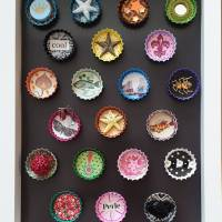 "Magnet ""ROSE"" * Kronkorken * Mini-Collage * Upcycling Bild 3"
