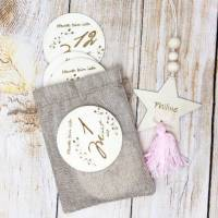 Meilensteinkarten aus Holz, 1 bis 12 Monate inkl. Dekostern mit Wunschgravur, Geschenk zur Geburt Bild 1