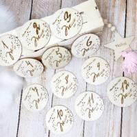 Meilensteinkarten aus Holz, 1 bis 12 Monate inkl. Dekostern mit Wunschgravur, Geschenk zur Geburt Bild 2