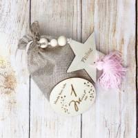Meilensteinkarten aus Holz, 1 bis 12 Monate inkl. Dekostern mit Wunschgravur, Geschenk zur Geburt Bild 3