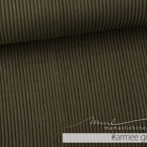 """Grobstrickbündchen-Stoff Grobstrick-Bündchen """"uni #olivgrün"""" 0,25m grobes Strickbündchen grün von mamasliebchen Bild 1"""