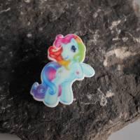 Einhorn, Regenbogen, Pferd,    Acryl, Brosche, Anstecker  Bild 1
