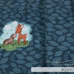 """Jersey-Stoff Reh Rehe Rehkitz Wildschwein """"Theo & Mo #darkblue"""" (1 Panel 0,65m) dunkelblau blau Bild 1"""