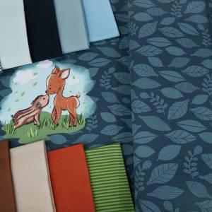 """Jersey-Stoff Reh Rehe Rehkitz Wildschwein """"Theo & Mo #darkblue"""" (1 Panel 0,65m) dunkelblau blau Bild 3"""
