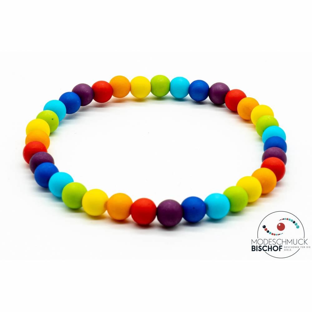 Regenbogen Perlen Armband Bild 1