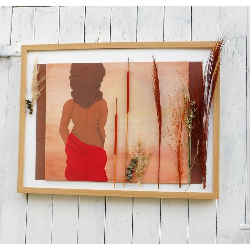 Wand Bild, Frau in Savanne, handgemalt, Wanddekoration Bild 1