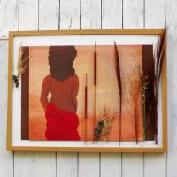 Wand Bild, Frau in Savanne, handgemalt, Wanddekoration Bild 2