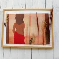 Wand Bild, Frau in Savanne, handgemalt, Wanddekoration Bild 3