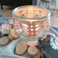Teelichtglas mit handgehäkelter Spitze Kerzenhalter Teelichthalter Upcycling Glas Textil Bild 1