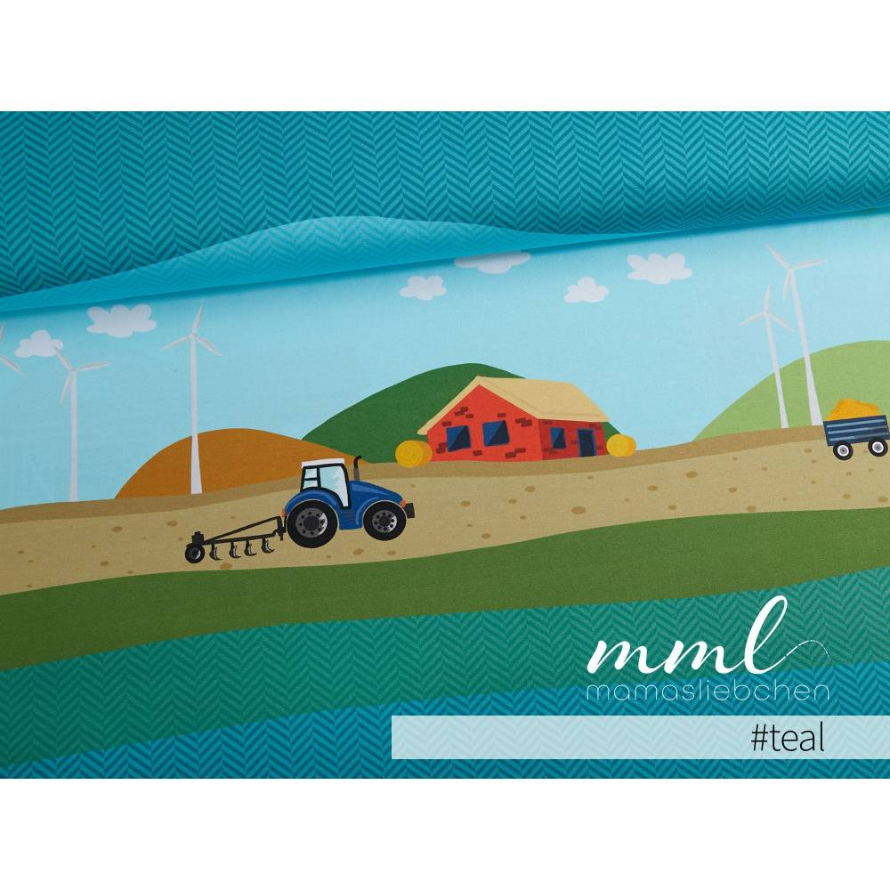 """Jersey-Stoff Bauernhof Trecker Traktor Bauer """"Farm Holidays #teal"""" (1 Panel 0,65m) türkis für Kinder Jungen Mädc Bild 1"""